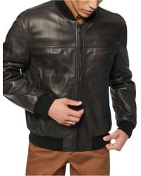 Marc New York Summit Leather Bomber Jacket - Brown