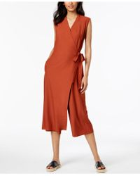 Eileen Fisher - Wrap-front Cropped Jumpsuit, Regular & Petite - Lyst