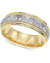 Macy's - Two-tone Hammered Wedding Band In 14k Gold & White Gold - Lyst