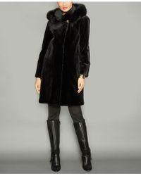 44ba2149357 Lyst - The Fur Vault Plus Size Fox-collar Cashmere Coat in Black