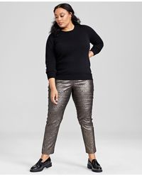 Charter Club Plus Size Cashmere Crewneck Sweater, Created For Macy's - Black