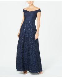 Adrianna Papell Off-the-shoulder Floral Gown - Blue