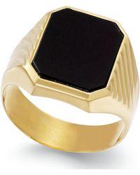 Macy's Men's Onyx Ring In 14k Gold (3-3/4 Ct. T.w.) - Multicolor
