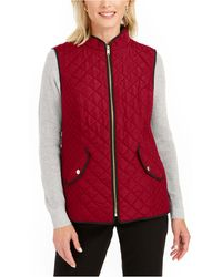 Charter Club Quilted Stand-collar Vest, Created For Macy's - Red