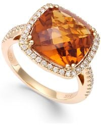 Macy's - Citrine (6 Ct. T.w.) And Diamond (1/3 Ct. T.w.) Ring In 14k Gold - Lyst