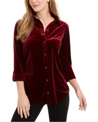 Charter Club Button-down Velvet Shirt, Created For Macy's - Red