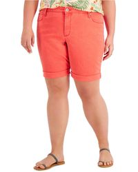 Style & Co. Plus Size Denim Bermuda Shorts, Created For Macy's - Red