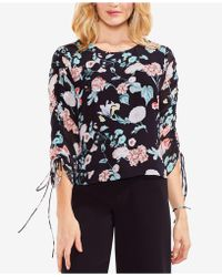 Vince Camuto - Floral-print Tie-sleeve Top - Lyst