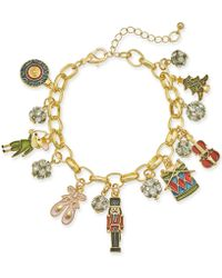 Charter Club - Holiday Lane Gold-tone Crystal, Stone & Epoxy Nutcracker Charm Bracelet, Created For Macy's - Lyst