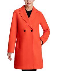 BCBGeneration Raw-edge Double-breasted Walker Coat - Orange