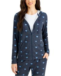 Style & Co. Petite Heart-print Zip-up Hoodie, Created For Macy's - Blue