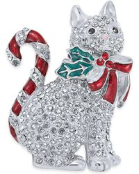 Charter Club Holiday Lane Silver-tone Pavé Candy Cat Pin, Created For Macy's - Metallic