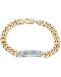 Macy's - Diamond (1 Ct. T.w.) Id Bracelet In 18k Gold-plated Sterling Silver - Lyst