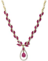 """Effy Collection - Effy® Certified Ruby (10-5/8 Ct. T.w.) And Diamond (9/10 Ct. T.w.) Fancy 18"""" Statement Necklace In 14k Gold - Lyst"""