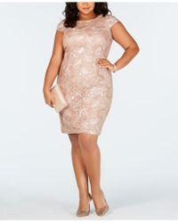886ad03b1e9 Alex Evenings - Plus Size Cap-sleeve Sequined Sheath Dress - Lyst