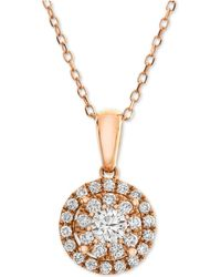 Macy's - Diamond Halo Adjustable Pendant Necklace (1/2 Ct. T.w.) In 14k Rose Gold - Lyst