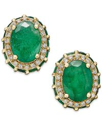 Macy's - Emerald (3-7/8 Ct. T.w.) And White Sapphire (1/5 Ct. T.w.) Oval Stud Earrings In 10k Gold - Lyst