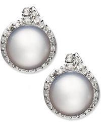 Macy's - 14k White Gold Earrings, Cultured South Sea Pearl (11mm) And Diamond (3/4 Ct. T.w.) Stud Earrings - Lyst