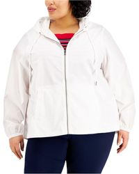 Karen Scott Plus Size Cotton Hooded Jacket, Created For Macy's - White