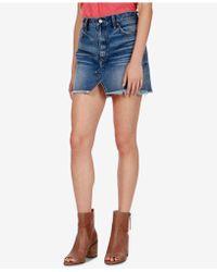 Lucky Brand | Cotton Frayed Denim Skirt | Lyst