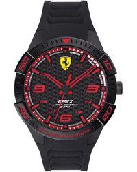 Ferrari Apex Black Silicone Strap Watch 44mm
