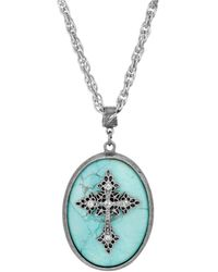 2028 Silver-tone Turquoise Semi Precious Oval Stone Crystal Cross Necklace - Metallic