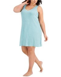 Alfani Plus Size V-neck Chemise Nightgown, Created For Macy's - Blue