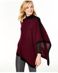 Charter Club Cashmere Border Poncho, Created For Macy's - Red
