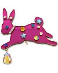 Betsey Johnson | Gold-tone Multi-stone Pink Bunny Pin | Lyst