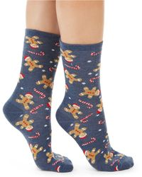 Charter Club Gingerbread Candy Cane Crew Socks, Created For Macy's - Blue