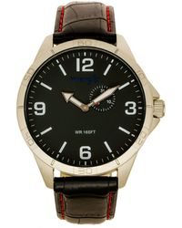 Wrangler Watch, 48mm Ip Silver Case With White Dial, Tan Strap - Black