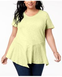 Style & Co. - Plus Size Cotton Asymmetrical Flounce-hem Top, Created For Macy's - Lyst