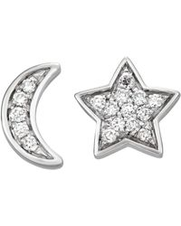 Serena Williams Jewelry Diamond (1/5 Ct. T.w.) Moon And Star Stud Earrings In 14k White Gold
