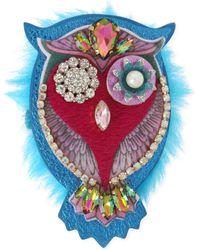 Betsey Johnson Gold-tone Multi-stone & Faux Fur Owl Pin - Multicolor
