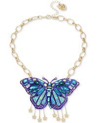 "Betsey Johnson - Gold-tone Glitter Stone Butterfly Statement Necklace, 17"" + 3"" Extender - Lyst"