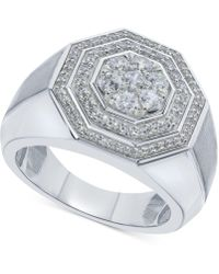 Macy's Diamond Octagon Layered Cluster Ring (1 Ct. T.w.) In 10k White Gold - Metallic