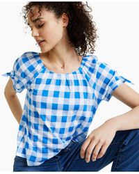 Style & Co. Petite Gingham Top, Created For Macy's - Blue