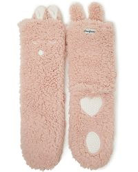 Dearfoams Novelty Animal Flurry Slipper Sock, Online Only - Pink