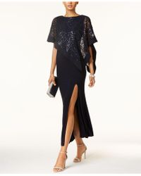 R & M Richards - Sequined Lace Cape Gown - Lyst