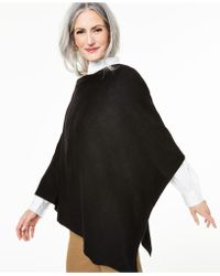 Charter Club Asymmetrical Cashmere Poncho, Created For Macy's - Black