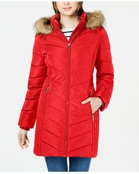 Tommy Hilfiger Chevron Faux-fur Trim Hooded Puffer Coat, Created For Macy's - Red