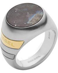 DIESEL Stainless Steel And Labradorite Stone Signet Ring