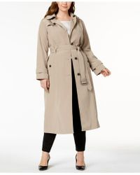 London Fog - Plus Size Hooded Maxi Trench Coat - Lyst