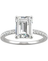 Charles & Colvard Moissanite (2-1/2 Ct. T.w. Dew) Emerald-cut Engagement Ring In 14k White Gold - Metallic