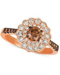 Le Vian - ® Chocolate® & Nudetm Diamond Floral Ring (1-1/3 Ct. T.w.) In 14k Rose Gold - Lyst