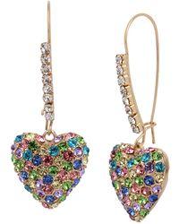 Betsey Johnson Pave Heart Dangle Earrings - Multicolor