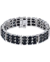 Macy's - Black Sapphire (50 Ct. T.w.) & Diamond Accent Link Bracelet In Sterling Silver - Lyst