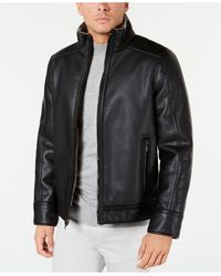 Calvin Klein Pebble Jacket With Faux Shearling Lining, Created For Macy's - Black