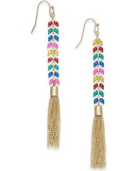 INC International Concepts - I.n.c. Gold-tone Multicolor Stone & Chain Tassel Linear Drop Earrings, Created For Macy's - Lyst
