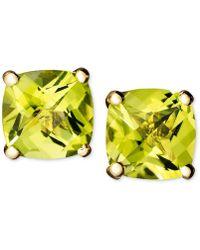 Macy's - 14k Gold Earrings, Peridot Cushion Studs - Lyst